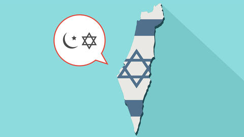 Animation of a long shadow Israel map with its flag and a comic balloon GIF