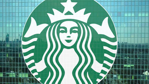 Aerial shot of office skyscraper with Starbucks logo. Modern office building Footage