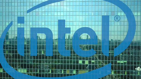 Aerial shot of office skyscraper with Intel Corporation logo. Modern office Footage