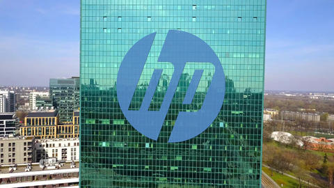 Aerial shot of office skyscraper with HP Inc. logo. Modern office building Footage