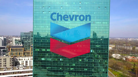 Aerial shot of office skyscraper with Chevron Corporation logo. Modern office Footage