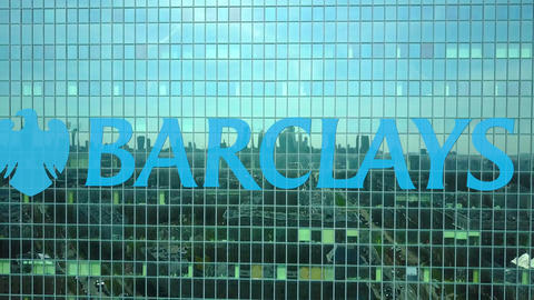 Aerial shot of office skyscraper with Barclays logo. Modern office building Footage