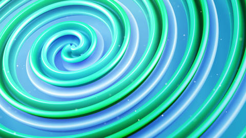 Green spiral curve spinning loopable abstract 3D animation Animation