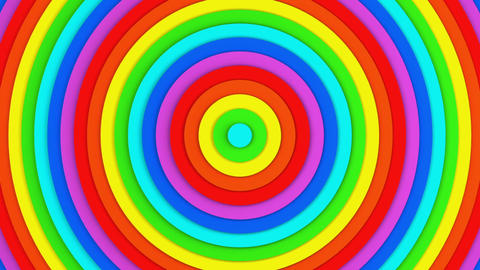 Bright rainbow concentric circles 3D animation seamless loop Animation