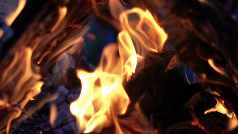 Video of fireplace in real slow motion Footage
