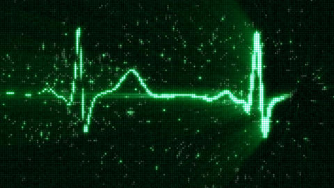 Green EKG electrocardiogram waveform on screen loop animation CG動画