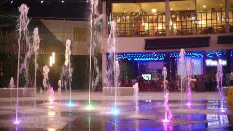 Fountain on night street Footage