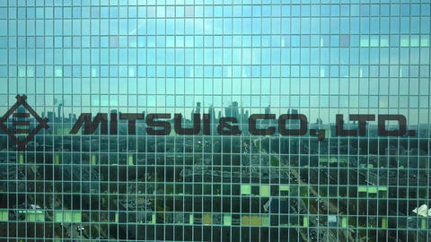 Aerial shot of office skyscraper with Mitsui and Co. logo. Modern office Footage