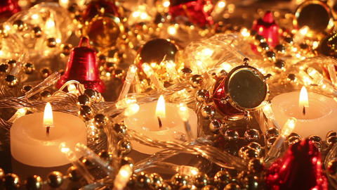 Candles and christmas decoration seamless loop background Footage