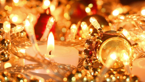 Candle and christmas decoration close-up seamless loop Footage