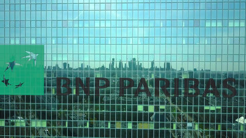 Aerial shot of office skyscraper with BNP Paribas logo. Modern office building Footage