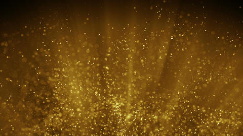 Fairy dust flying in gold light rays seamless loop animation Animation