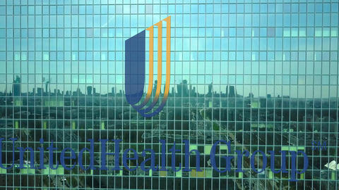 Aerial shot of office skyscraper with UnitedHealth Group logo. Modern office Footage