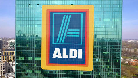 Aerial shot of office skyscraper with Aldi logo. Modern office building Footage