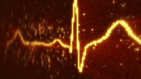 Orange EKG electrocardiogram waveform on monitor loopable Animation
