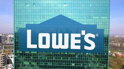 Aerial shot of office skyscraper with Lowe's logo. Modern office building Live Action