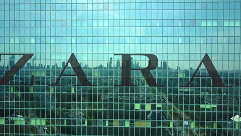 Aerial shot of office skyscraper with Zara logo. Modern office building Footage