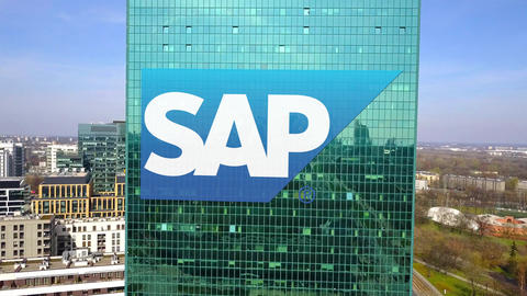 Aerial shot of office skyscraper with SAP SE logo. Modern office building Footage