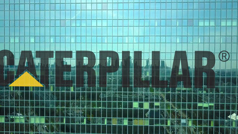 Aerial shot of office skyscraper with Caterpillar Inc. logo. Modern office Footage