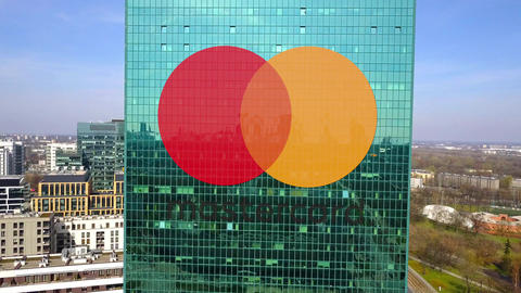 Aerial shot of office skyscraper with MasterCard logo. Modern office building Footage