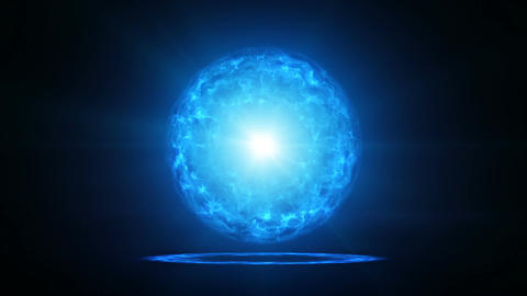 Blue plasma ball with energy charges in studio loopable Animation