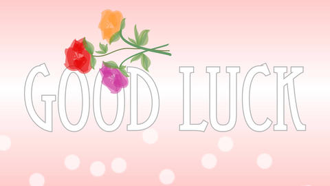Pink wedding background with inscription good luck and bouquet of roses. Flowers Animation