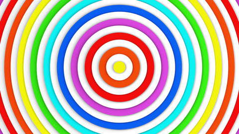 Colorful concentric lines growing 3D animation seamless loop Animation