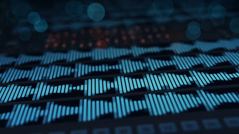 Digital audio waves on screen seamless loop animation Animation