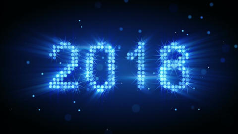 New year 2018 greeting glowing blue particles loop animation Animation