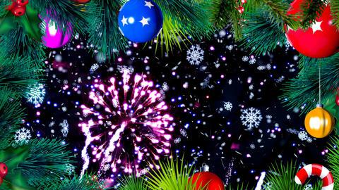 Animation of Rotating Colorful Christmas Balls with Fireworks Animation