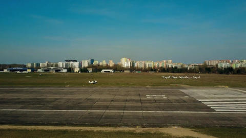WARSAW, POLAND - APRIL, 1, 2017. Aerial shot of a small propeller airplane Footage
