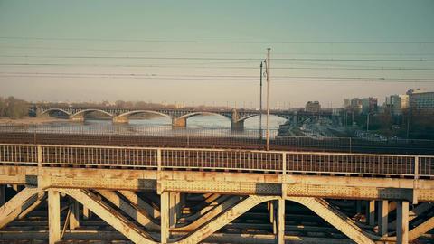 Old steel railway bridge across the river Footage