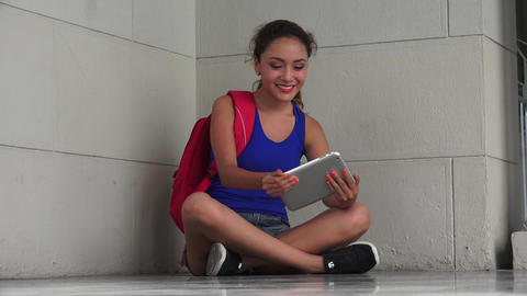 Happy Hispanic Female College Student Using Tablet Footage