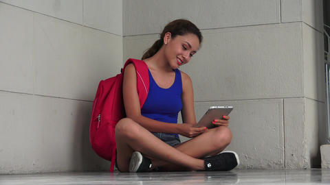 Adorable Female College Student With Tablet Live Action