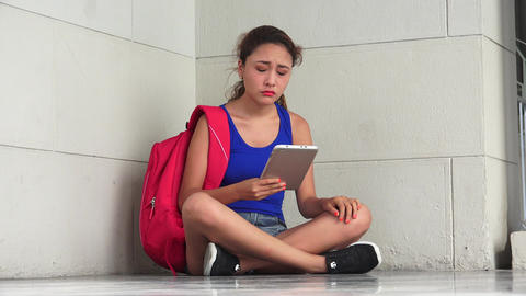Sad Unhappy Female College Student With Tablet Footage