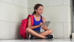 Irritated Female College Student With Tablet Live Action