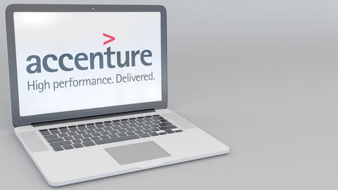 Opening and closing laptop with Accenture logo on the screen. Computer Footage