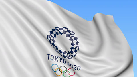 Waving flag with 2020 Summer Olympics logo against blue background. 4K editorial Footage