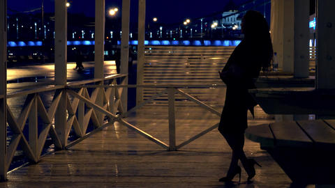 Young romantic woman standing on the terrace in Moscow park at night Footage