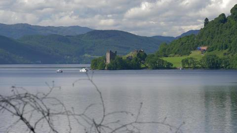 Urquhart Castle, Loch Ness, Scotland Footage