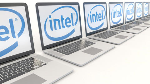 Modern laptops with Intel Corporation logo. Computer technology conceptual Footage