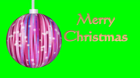 Merry Christmas animation, xmas ball with snowflakes, golden inscription, green Animación
