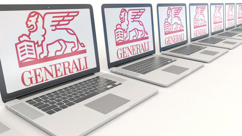 Modern laptops with Generali Group logo. Computer technology conceptual Footage
