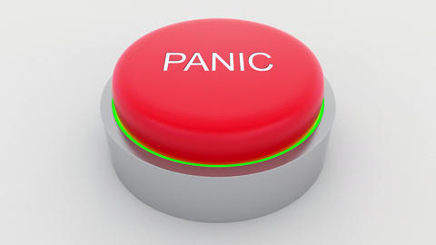Big red button with panic inscription being pushed Footage