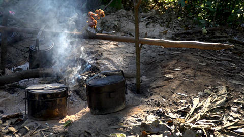 Cooking with camp fire,camping in nature Footage