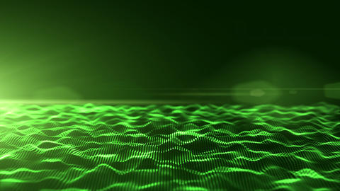 Abstract green digital waves background with light flare Animation