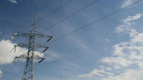 Power Transmission Line With Cloudy Sky On The Background Footage