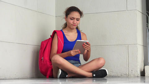 Confused Hopeless Female College Student With Tablet Live Action