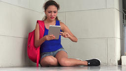 Confused Female Student With Tablet Live Action