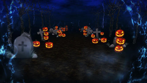 Spooky Halloween thunder night, Pumpkin in a mystic forest, Loop Animation